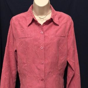 Sag Harbor Pink Blouse Sueded Fabric Size 8